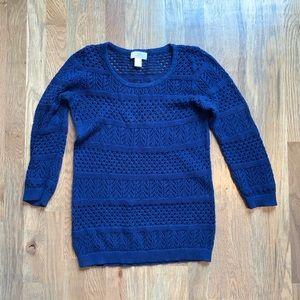 Loft Blue Open Knit 3/4 Sleeve Sweater